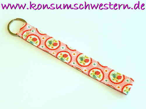 "key chain ""STRAWBERRIES ON PINK"" cotton long"