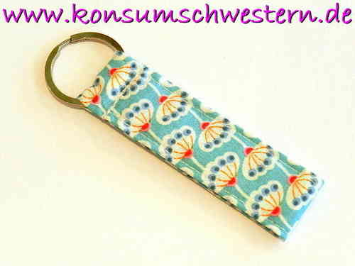 "short key chain ""FLOWER ON BLUE"" cotton fabric"