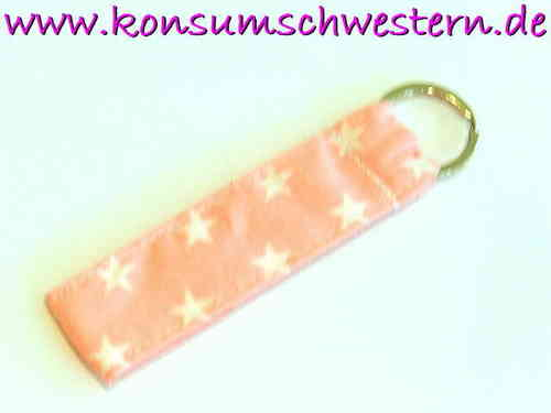"short key chain ""STARS ON PINK"" cotton fabric"