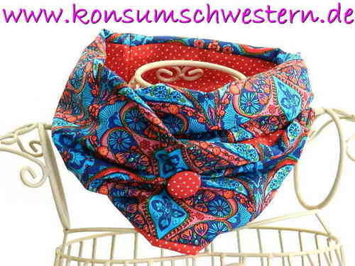 reversible tube scarf ORNAMENTS BLUE RED loop