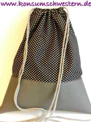 gymbag - POLKA DOTS BLACK - and faux leather