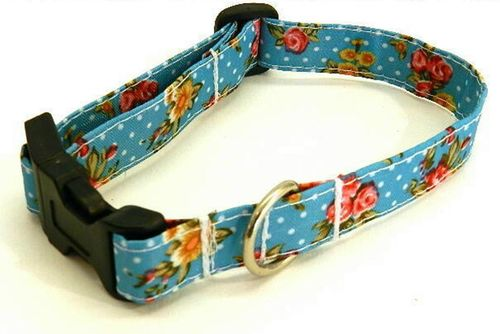 dog collar small ROSES ON TURQUOIS PVC Ripstop