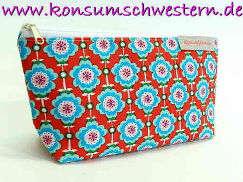 pencil case cotton - HAWAIIAN FLOWERS RED