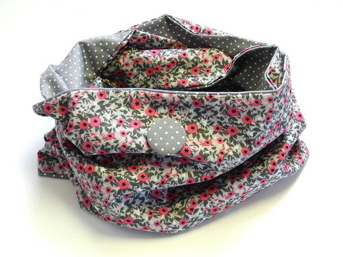 reversible scarf - SMALL FLOWERS PINK GREY