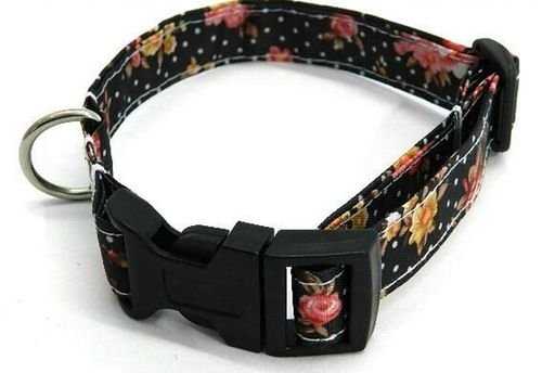 dog collar small ROSES ON BLACK - PVC Ripstop