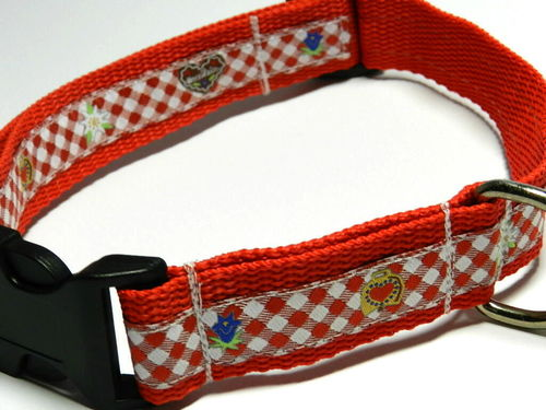 dog collar large - GINGER BREAD and EDELWEISS