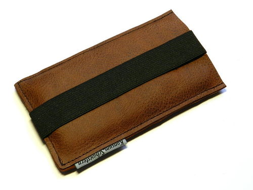 smartphone cover leather - BROWN - rubber band