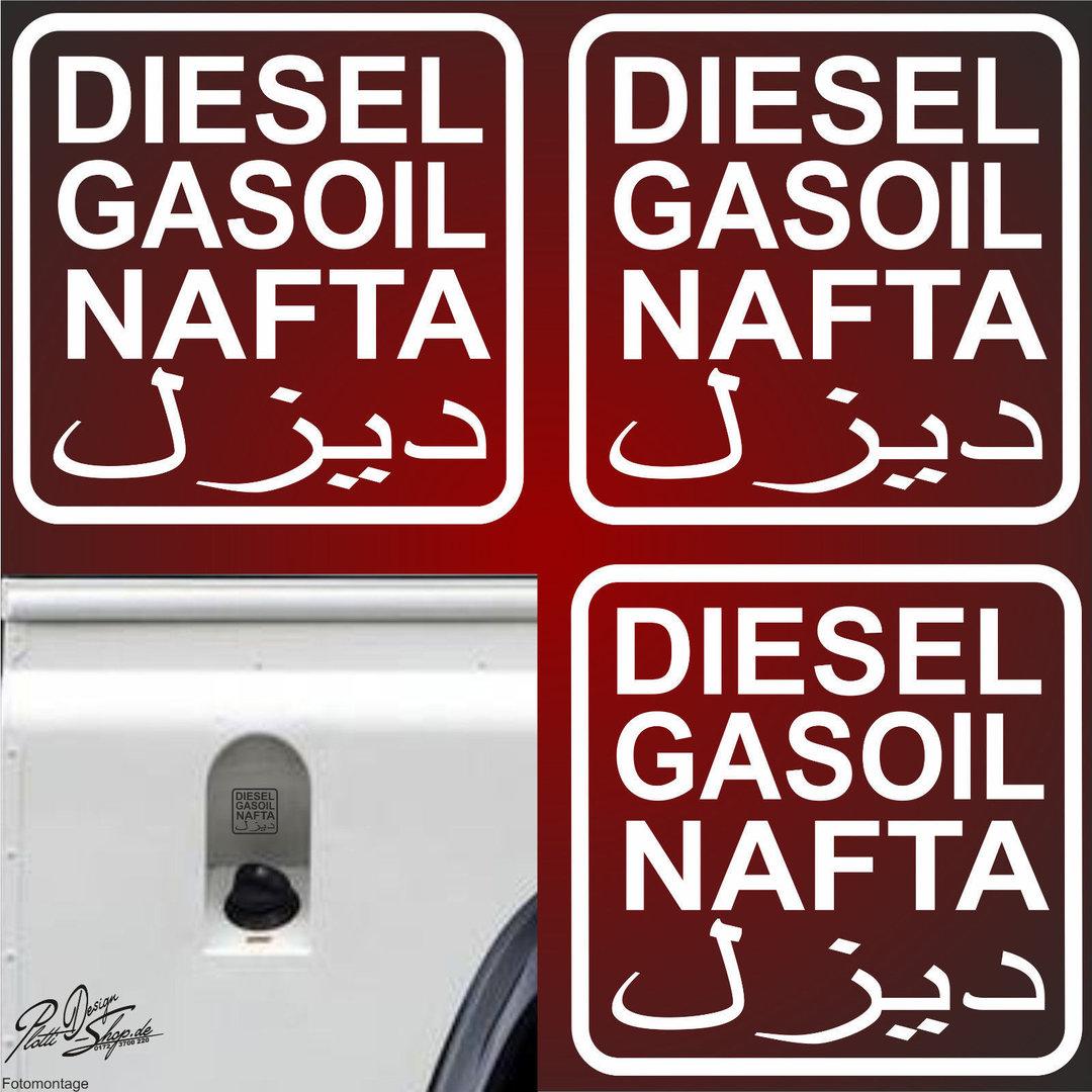 A0534 3 X Diesel Aufkleber 7x7cmfreie Farbwahl Gasoil Tanken