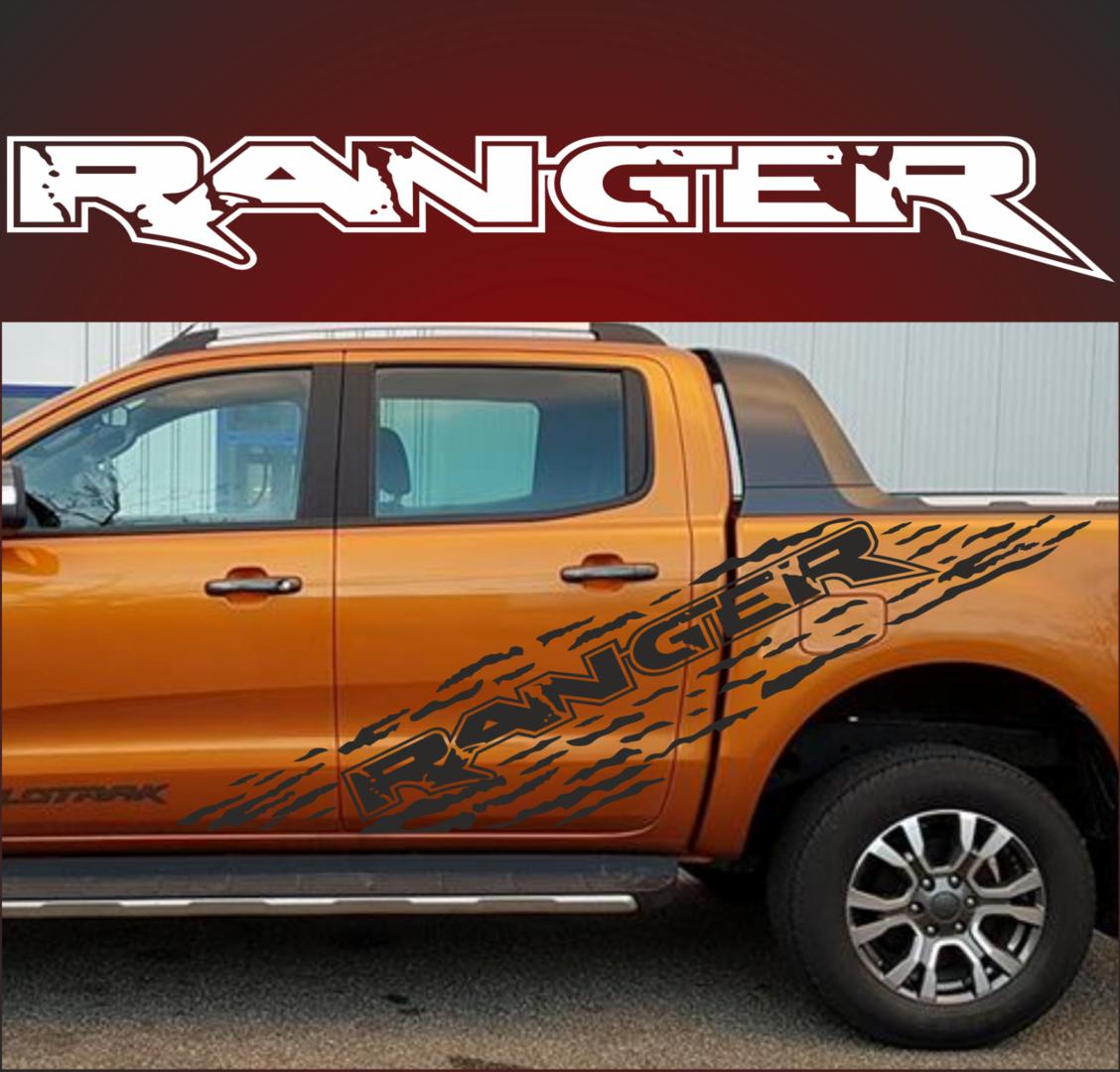 A1080 Ranger Aufkleber Set Passt Für Ford Ranger 4x4 Raptor Reifenspur Spritzer Dekor Beide Seiten
