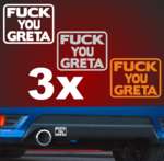 A5007  3 FUCK YOU GRETA Aufkleber 7x5 passt für FORD Racing 4x4 Autoaufkleber ARMY CO2