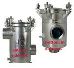 "Arctic Steel, 6"" BSP Thread BISO Strainer with Solid Lid, BOTTOM INLET SIDE OUTLET MODELS (BISO)"