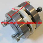 R&D flexible shaft coupling with adapter piece Farymann to Yanmar 1 GM 10 length 78mm
