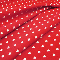 Organic Printed Fabric Hearts Red White, GOTS-certified