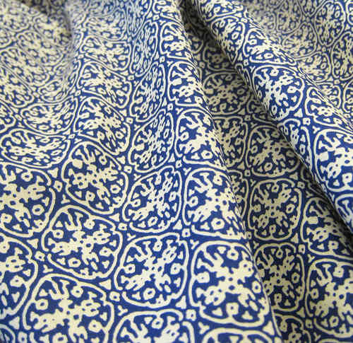 Organic Printed Fabric Ornament Blue, GOTS-certified
