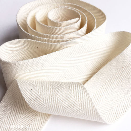Organic Cotton Ribbon Herringbone 40mm
