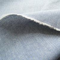 Organic Cotton Chambray Blue White GOTS