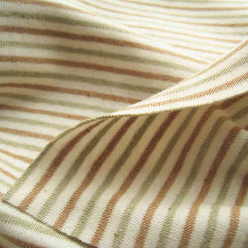 Naturally Coloured Cotton Jersey Stripes Ecru Brown Green