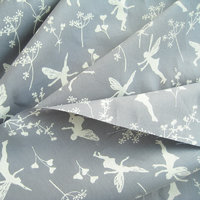 Organic Voile Fairy Dance Grey Blue, GOTS-certified