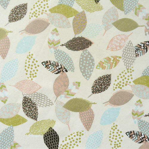 Organic Print Fabric Leaves Mix, GOTS-certified