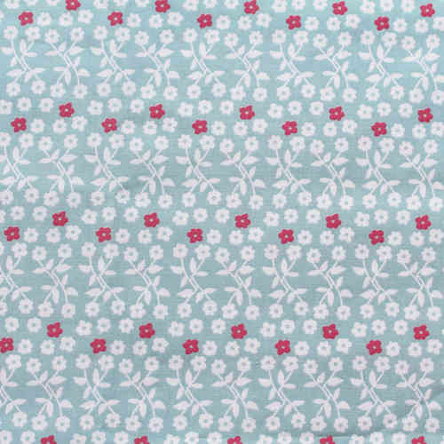 Organic Cotton Fabric Print Susy blue, GOTS-certified