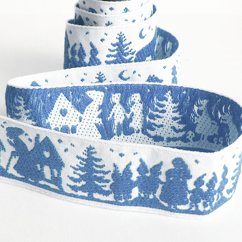Woven Ribbon Fairy Story Forest White Blue