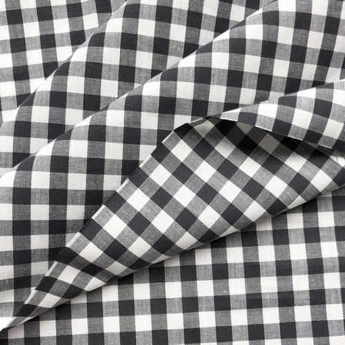Organic Cotton Fabric Gingham india ink/ white, GOTS-certified