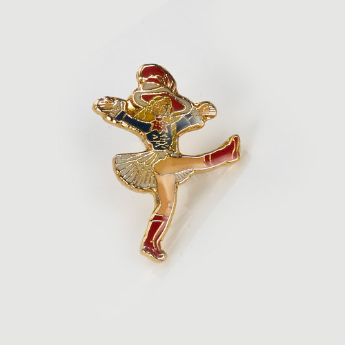Anstecker - blau/rot dancing Mary - very small