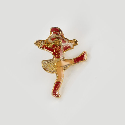 Anstecker - rot/rot dancing Mary - very small