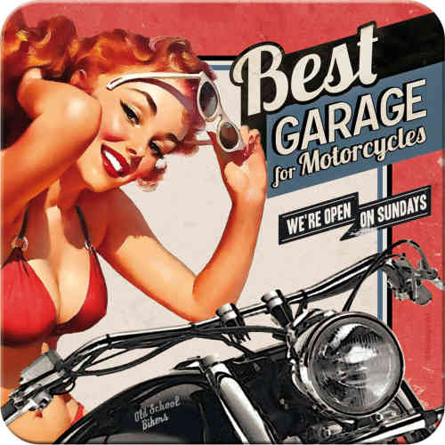 Metall-Untersetzer - Best Garage for Motorcycles, 9 x 9 cm
