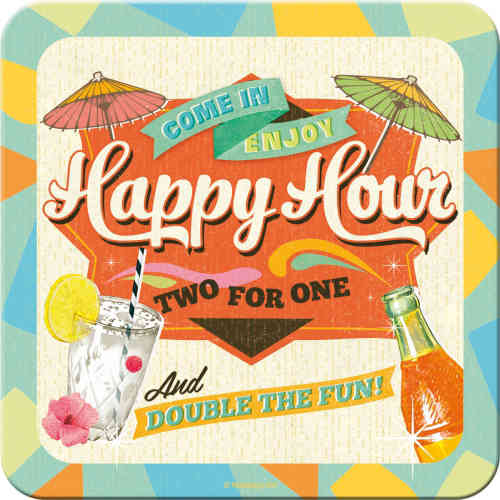 Metall-Untersetzer - Happy Hour - Two for One, 9 x 9 cm
