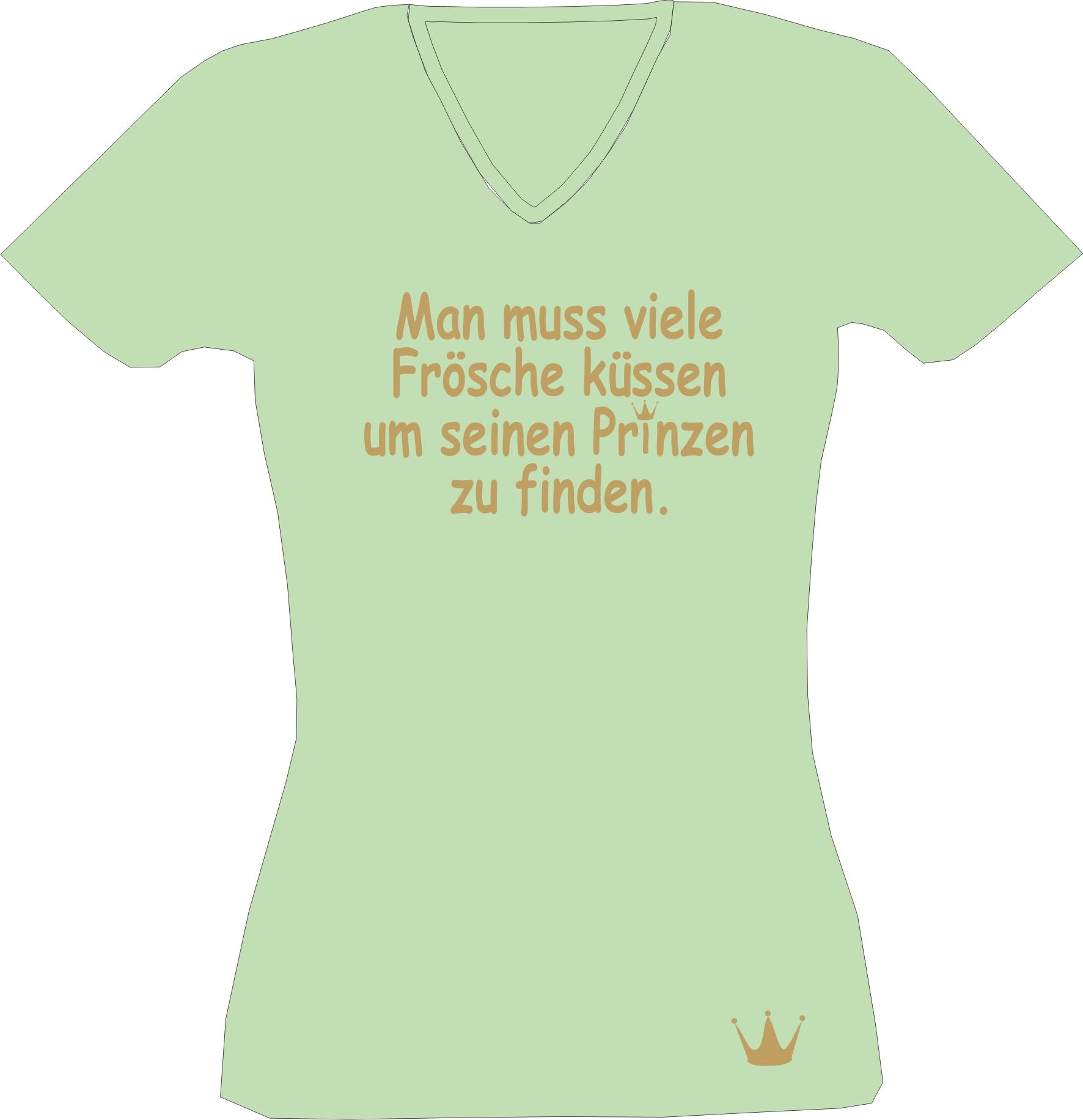 T-Shirt Lady V-Neck Man muß viele Frösche küssen um seinen